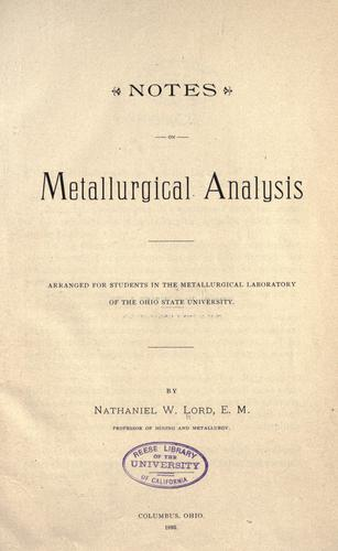 Download Notes on metallurgical analysis