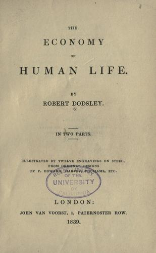The economy of human life by Robert Dodsley