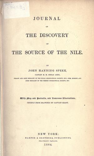 Journal of the discovery of the source of the Nile.