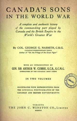Download Canada's sons and Great Britain in the World War