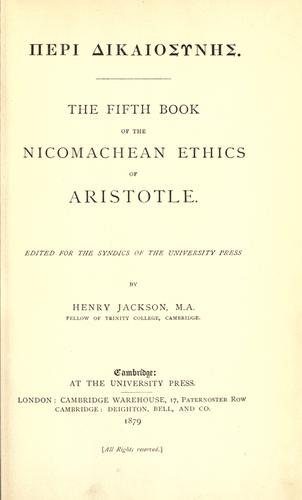 The fifth book of the Nicomachean ethics of Aristotle.