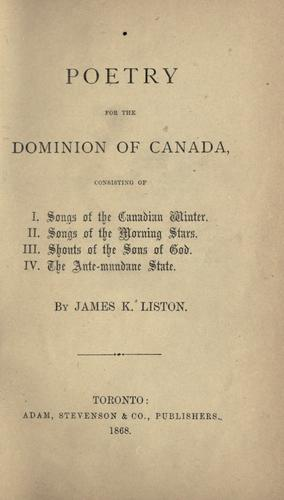 Poetry for the Dominion of Canada