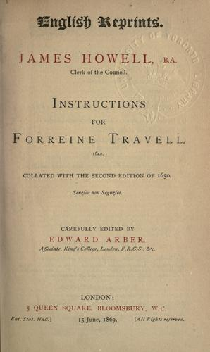Instructions for forreine travell.