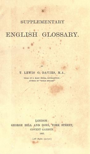 Download A supplementary English glossary