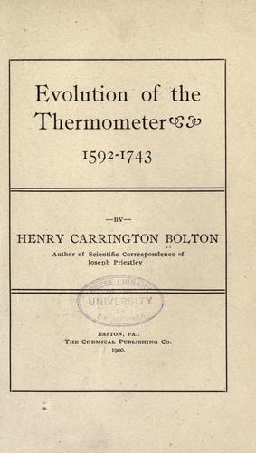 Evolution of the thermometer 1592-1743.