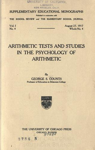 Download Arithmetic tests and studies in the psychology of arithmetic