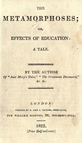 Download The metamorphoses, or, Effects of education