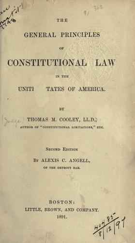 Download General principles of constitutional law in the United States of America