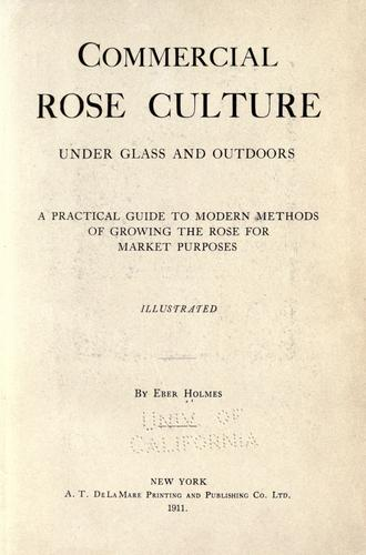 Commercial rose culture, under glass and outdoors