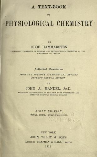 A text-book of physiological chemistry