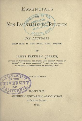 Essentials and non-essentials in religion