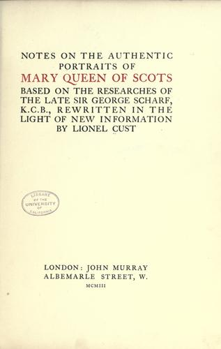 Download Notes on the authentic portraits of Mary, Queen of Scots