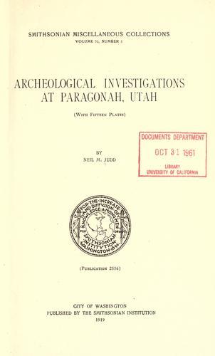 Download Archeological investigations at Paragonal, Utah
