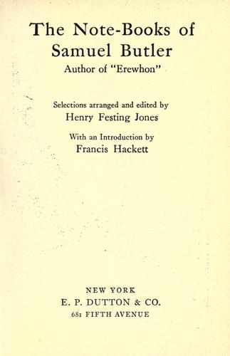 The note-books of Samuel Butler …