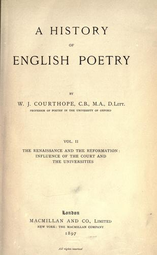 Download A history of English poetry
