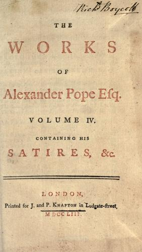 The works of Alexander Pope Esq.