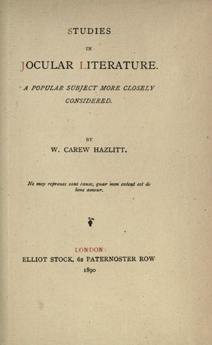 Download Studies in jocular literature.