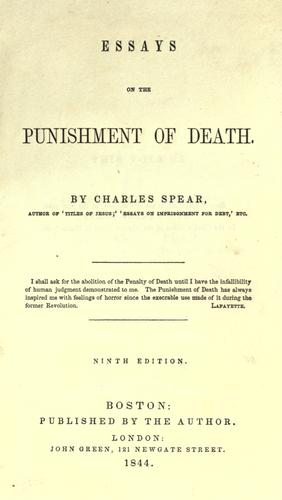 Download Essays on the punishment of death.