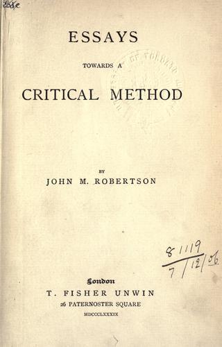 Essays towards a critical method.