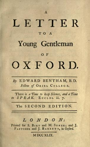 Download A letter to a young gentleman of Oxford.