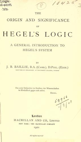 Download The origin and significance of Hegel's logic