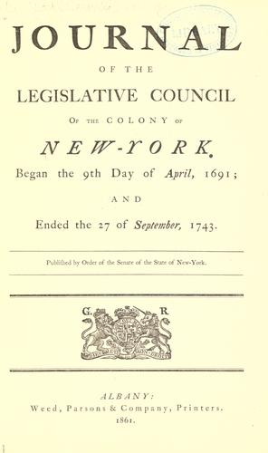 Download Journal of the Legislative council of the colony of New-York.