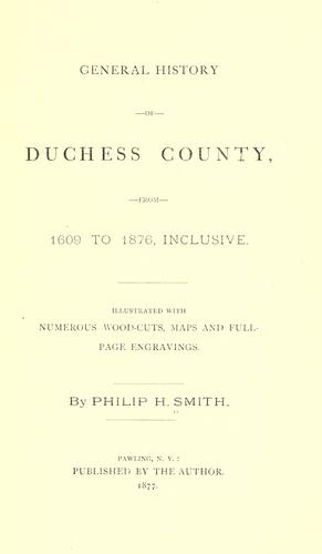 General history of Duchess County