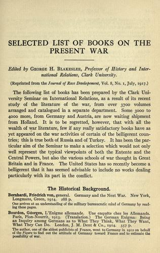 Download Selected list of books on the present war.