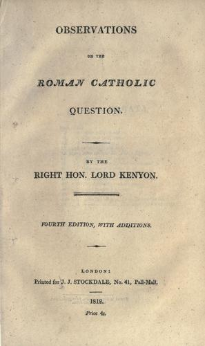 Download Observations on the Roman Catholic question.