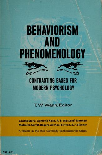Download Behaviorism and phenomenology