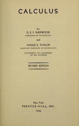Calculus by G. E. F. Sherwood