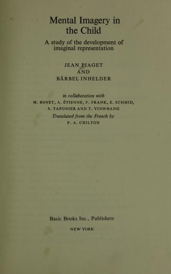 Cover of: Mental imagery in the child   Jean Piaget