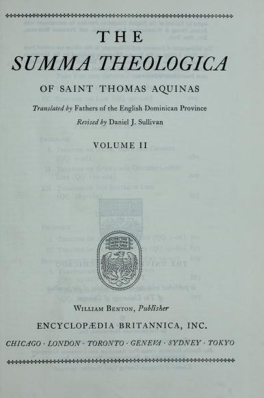The Summa theologica. by Thomas Aquinas