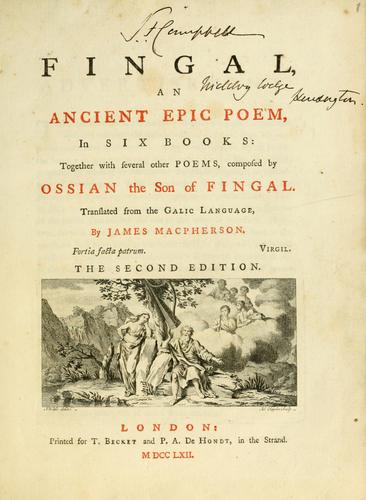 Fingal, an ancient epic poem by James Macpherson