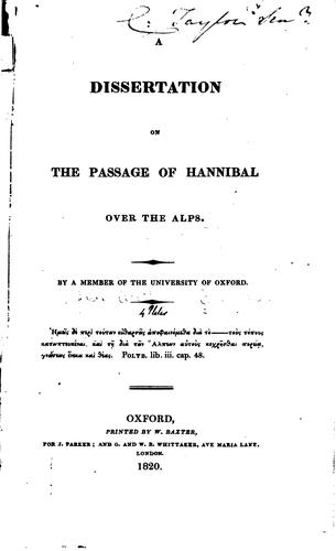A dissertation on the passage of Hannibal over the Alps by Henry Lewis Wickham