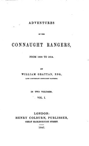 Adventures of the Connaught rangers by Grattan, William lieut.