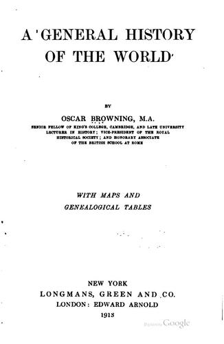 A general history of the world by Oscar Browning