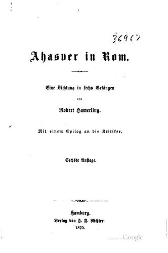 Ahascer in Rom by Hamerling. Robert.