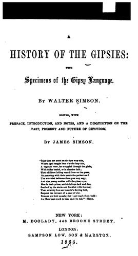 A history of the Gipsies by Walter Simson