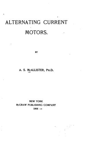 Alternating current motors by Addams Stratton 1875- McAllister