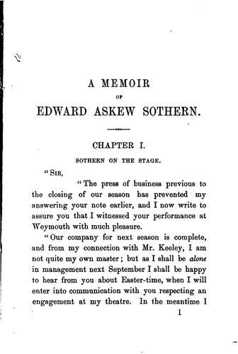 A memoir of Edward Askew Sothern.