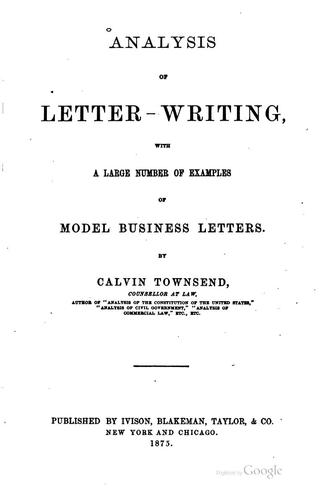 Analysis of letter writing by Calvin Townsend
