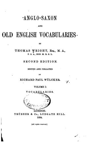 Anglo-Saxon and Old English vocabularies