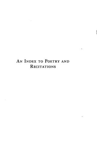 An index to poetry and recitations by Granger, Edith