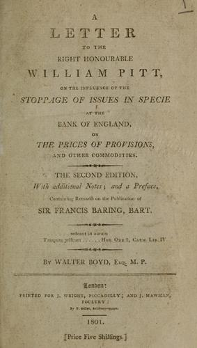 A letter to the Right Honourable William Pitt