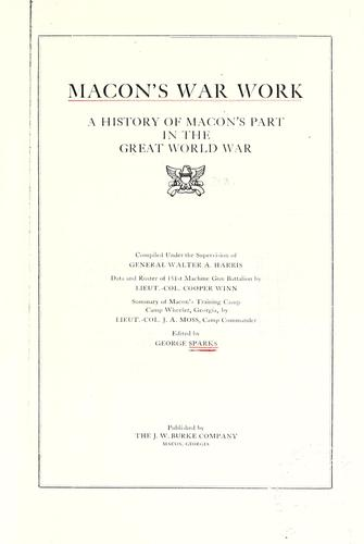Macon's war work by George McIntosh Sparks