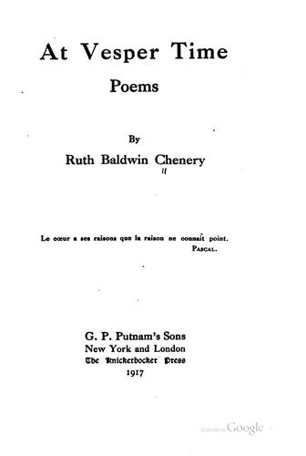 At vesper time, poems by Ruth Baldwin Chenery