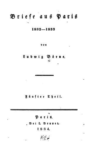 Briefe aus Paris by Ludwig Börne