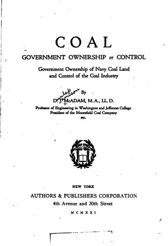 Coal, government ownership or control by Dunlap Jamison McAdam