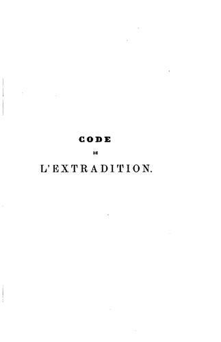 Code de l'extradition by Emmanuel Olivier